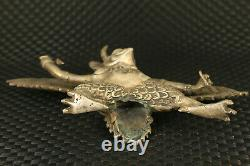 Chinese rare copper Hand cast eagle deity statue noble table decoration