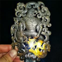Chinese rare hetian jade Jadeite miniature hand-carved pendant statue eagle bi