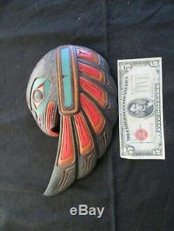 Classic Northwest Coast Design, Hand Carved Eagle Effigy Plaque, Wy-04660