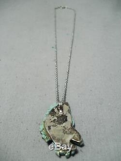 Completely Hand Carved Eagle Vintage Navajo Turquoise Sterling Silver Necklace