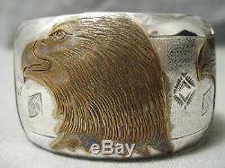 Completely Hand Carved Vintage Navajo Gold Sterling Silver Eagle Bracelet