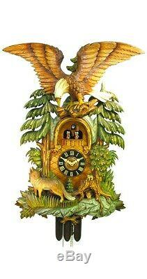 Cuckoo Clock Fox, Eagle with handcarved wooden weights 5.0195.01. P NEW