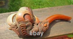 DRAGONS / EAGLE with EGG CLAW Meerschaum Tobacco Pipe Eagle Hand Carved Antique