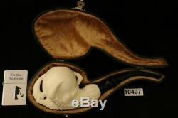 Deluxe Eagle's Claw Hand Carved BLOCK Meerschaum Pipe with CASE 10407