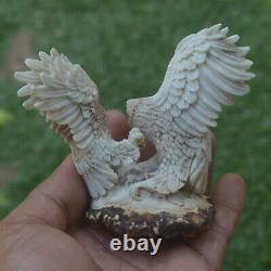 Double Eagles Carving 82mm Height T395 in Antler Hand Carved