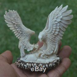 Double Eagles Carving 83mm Height T398 in Antler Hand Carved