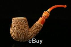 Eagle Embossed Hand Carved Meerschaum Pipe in custom case 9882