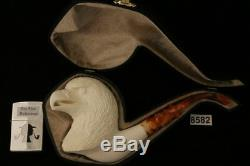 Eagle Hand Carved Block Meerschaum Pipe in a fitted CASE 8582