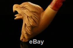 Eagle Hand Carved Block Meerschaum Pipe with custom case 11728