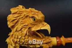 Eagle PIPE BY SADIK YANIK BLOCK MEERSCHAUM-NEW-HAND CARVED-FROM TURKEY#1176