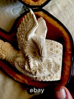 Eagle & Snake Hand Carved Block Meerschaum Pipe with CASE Free Shipping in USA