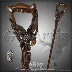 Eagle Snake Walking Stick Cane Wood Carved Hiking Staff Hand Crafted Wooden