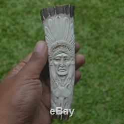 Eagle Wolf Indian Carving 139mm Length Handle H625 in Antler Hand Carved