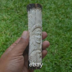 Eagle Wolf Indian Carving 140mm Length Handle H1024 in Antler Hand Carved