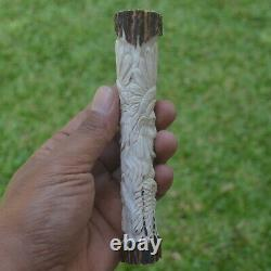 Eagle Wolf Indian Carving 146mm Length Handle H991 in Antler Hand Carved