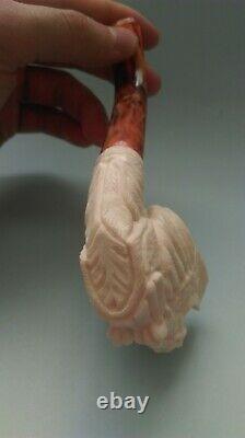 Eagle block Meerschaum Pipe best hand carved smoking pfeife wth case
