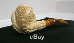 Eagle's Claw Hand Carved Block Meerschaum Pipe NEW In Case