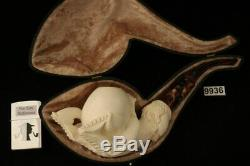 Eagle's Claw Hand Carved Block Meerschaum Pipe in custom case 9936