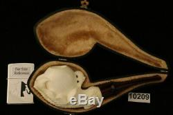 Eagle's Claw Hand Carved Block Meerschaum Pipe with CASE 10209