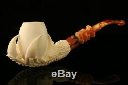 Eagle's Claw Hand Carved Block Meerschaum Pipe with CASE 10222