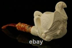 Eagle's Claw Hand Carved Block Meerschaum Pipe with custom CASE 10940