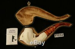 Eagle's Claw Hand Carved Block Meerschaum Pipe with custom CASE 11232
