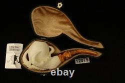 Eagle's Claw Hand Carved Block Meerschaum Pipe with custom case 12075r