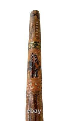 Early American Folk Art Cane / Walking Stick Hand Carved & Painted Eagle