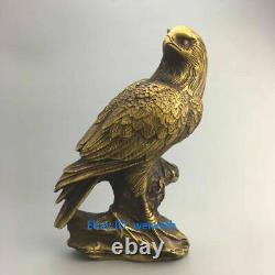 Exquisite Chinese brass OLD Hand-carved Eagle sculpture statue