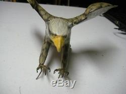Extraordinary Signed Hand carved & hand paited Eagle On A Wood Stand