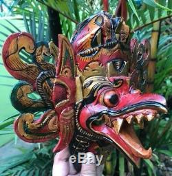 Face Garuda Eagle Hindu Wood Hand Carved Paint Barong Hang Dragon Bali Mask bird
