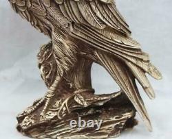 Ferocious Chinese Tibetan silver Arabia Hawk Eagle Bird Figures Statue