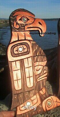 First Nations Pacific Northwest native Art hand carved RAVEN and EAGLE, signed
