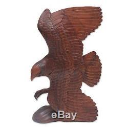 Flying Eagle in Brown Hand Carved Wood Sculpture Original Art NOVICA Bali