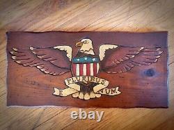 Folk Art Bald Eagle Hand Carved Painted Wood Sign Patriotic American Flag