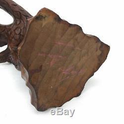 Folk Art Hand Carved Wood Eagle Sculpture 15 Wingspan Vintage Home Decor