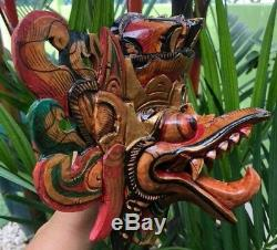 Garuda Mask King Bird Eagle Hindu Wood Hand Carved Paint Dragon Decor Wall Bali