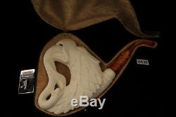 Giant Eagle Hand Carved Meerschaum Pipe by I. BAGLAN in fitted case 6620