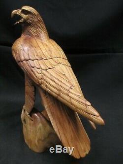 Golden Eagle Hand Carved Wood on Perch 14.25 Tall, By John Sinn, Ocala, FL