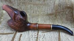 Gorgeous Wooden Tobacco Smoking Pipe Hand Carved Eagle on bowl Unsmoked New