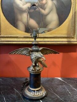Grand Tour Style Hand Carved Parcel Gilt Table Lamp With Gilded Eagle