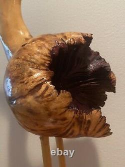 Hand Carved 16 Stork Bird Burl Wood KNOT Natural Finish