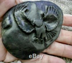 Hand Carved BALD EAGLE on BIG SUR, California Nephrite JADE from Plaskett Creek