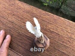 Hand Carved Bald Eagle Landing In A Tree, Figurine done in Deer Antler