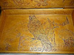 Hand Carved Box Of Eagles, Moose, Birds, Trees, Acorns Ect