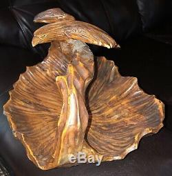 Hand Carved Burl Wood Eagle Handled Basket