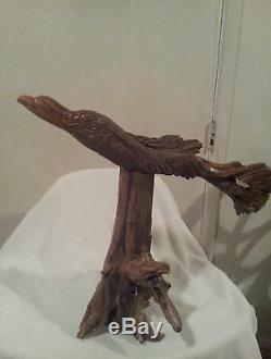Hand-Carved Drift Wood Eagle on Pine Root Base