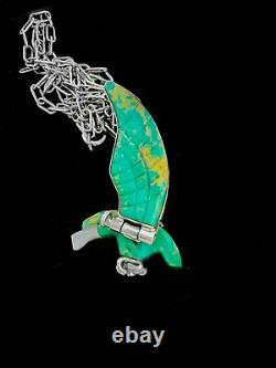 Hand Carved Eagle Pendant, 925 Sterling Silver Pendant, Turquoise Pendant