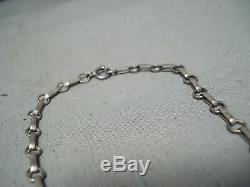 Hand Carved Eagle Vintage Navajo Turquoise Sterling Silver Necklace Old
