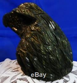 Hand Carved Jade Stone Eagle Head Sculpture Figurine